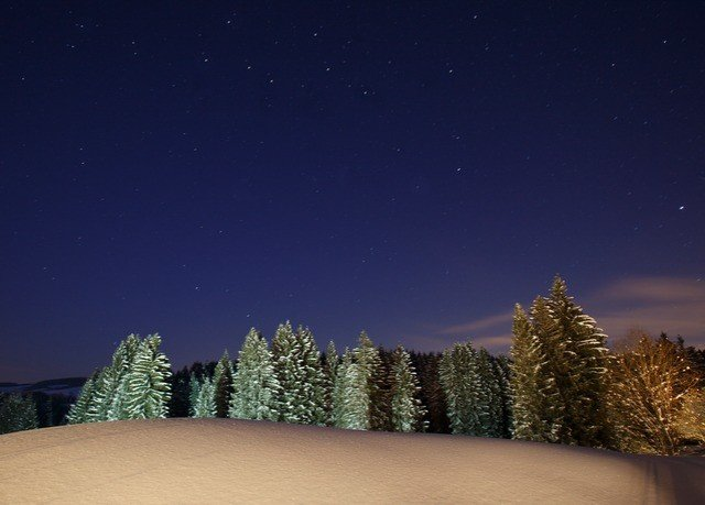 tree sky night star light aurora snow Nature astronomical object evening moonlight mountain astronomy dusk slope dawn dark outdoor object Night Sky