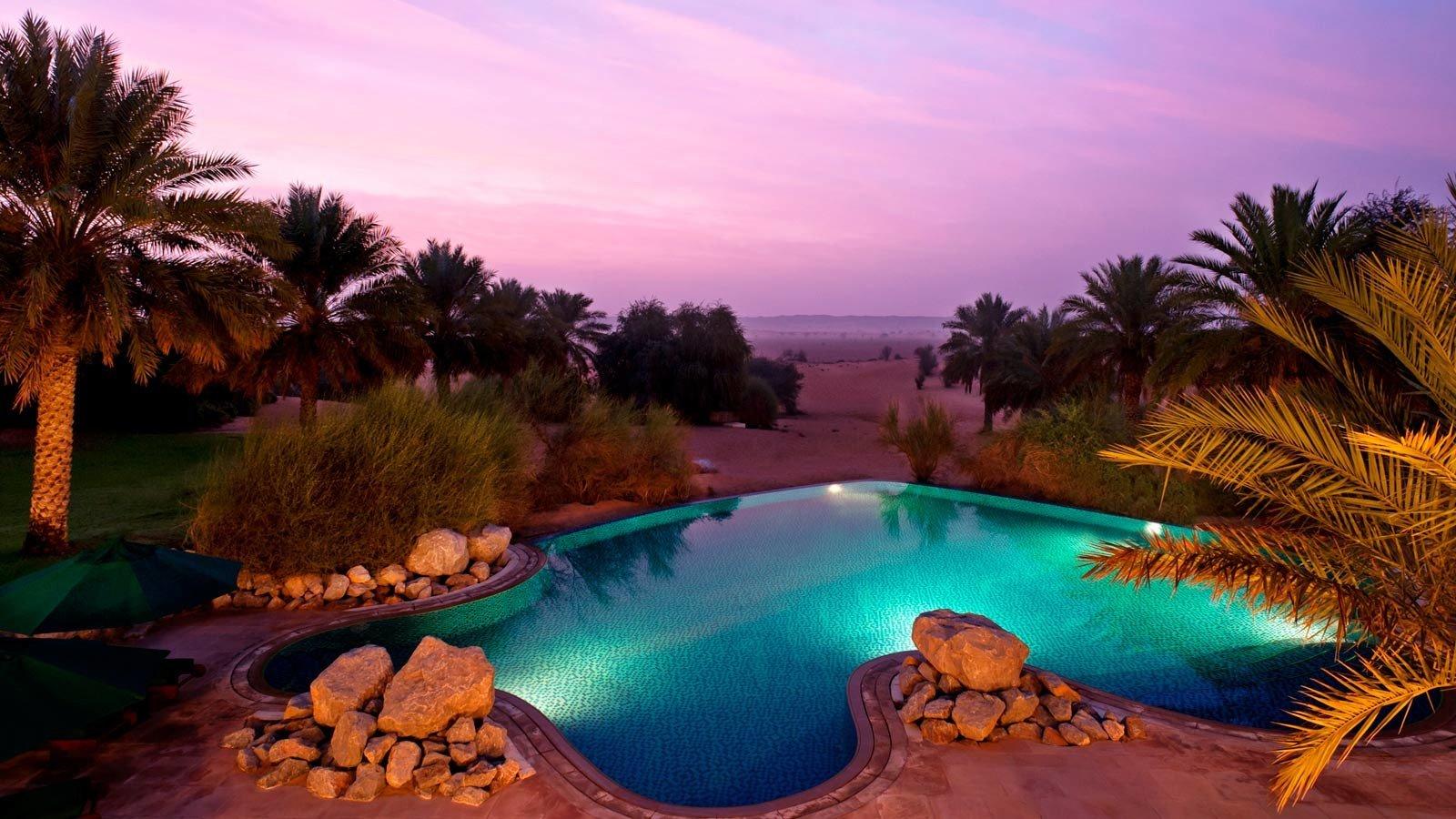 Nature swimming pool tropics Resort water sky palm tree arecales landscape caribbean tree computer wallpaper evening