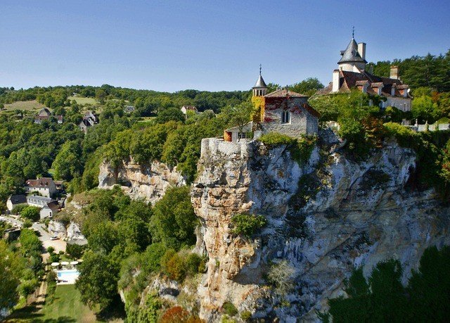 tree rock historic site Town landmark castle building Village monastery château Nature stone aerial photography unesco world heritage site panorama hillside old surrounded lush