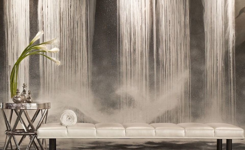white light modern art water feature painting water Nature lighting wallpaper curtain Waterfall