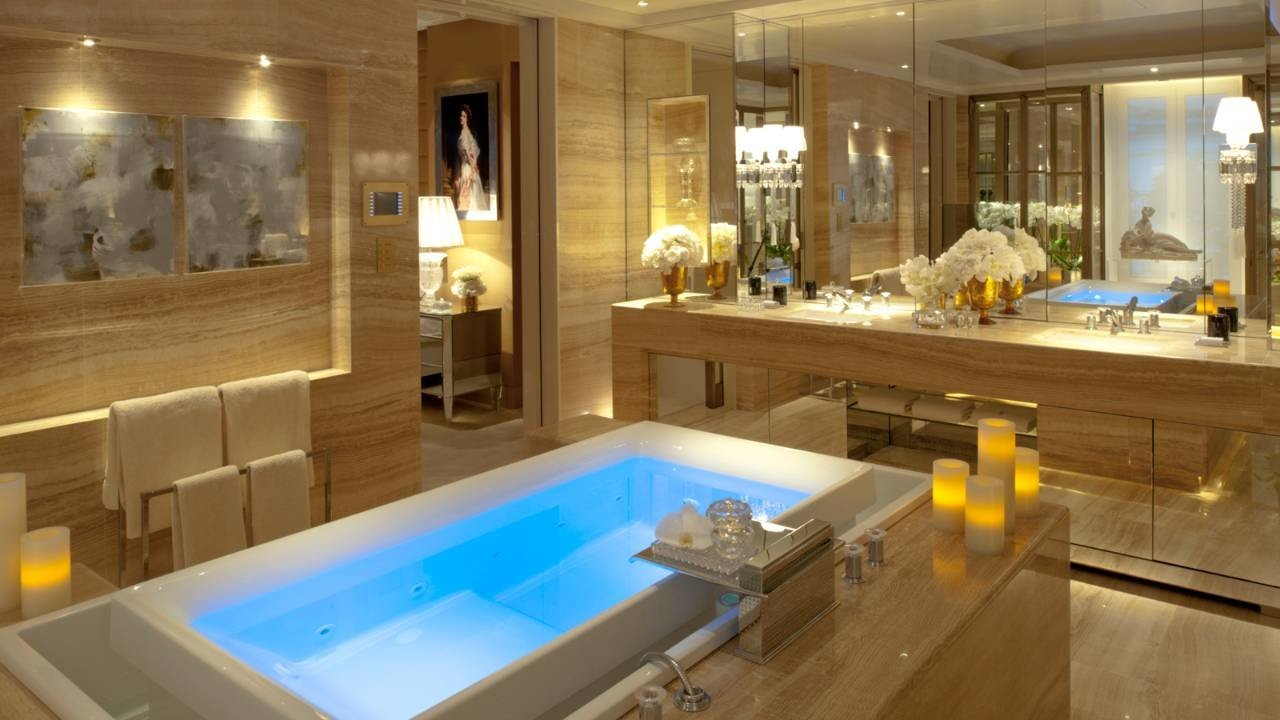 Hotels Luxury Travel indoor table window room counter sink interior design vessel estate bathroom countertop amenity flooring Suite bathtub