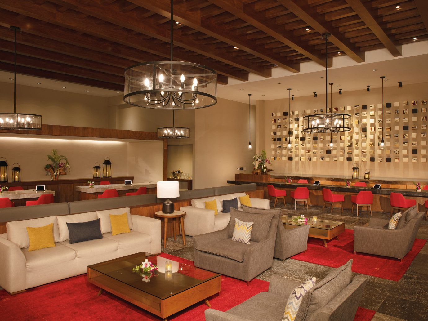 All-Inclusive Resorts Family Travel Hotels indoor wall ceiling floor interior design room Lobby furniture function hall living room table restaurant area several