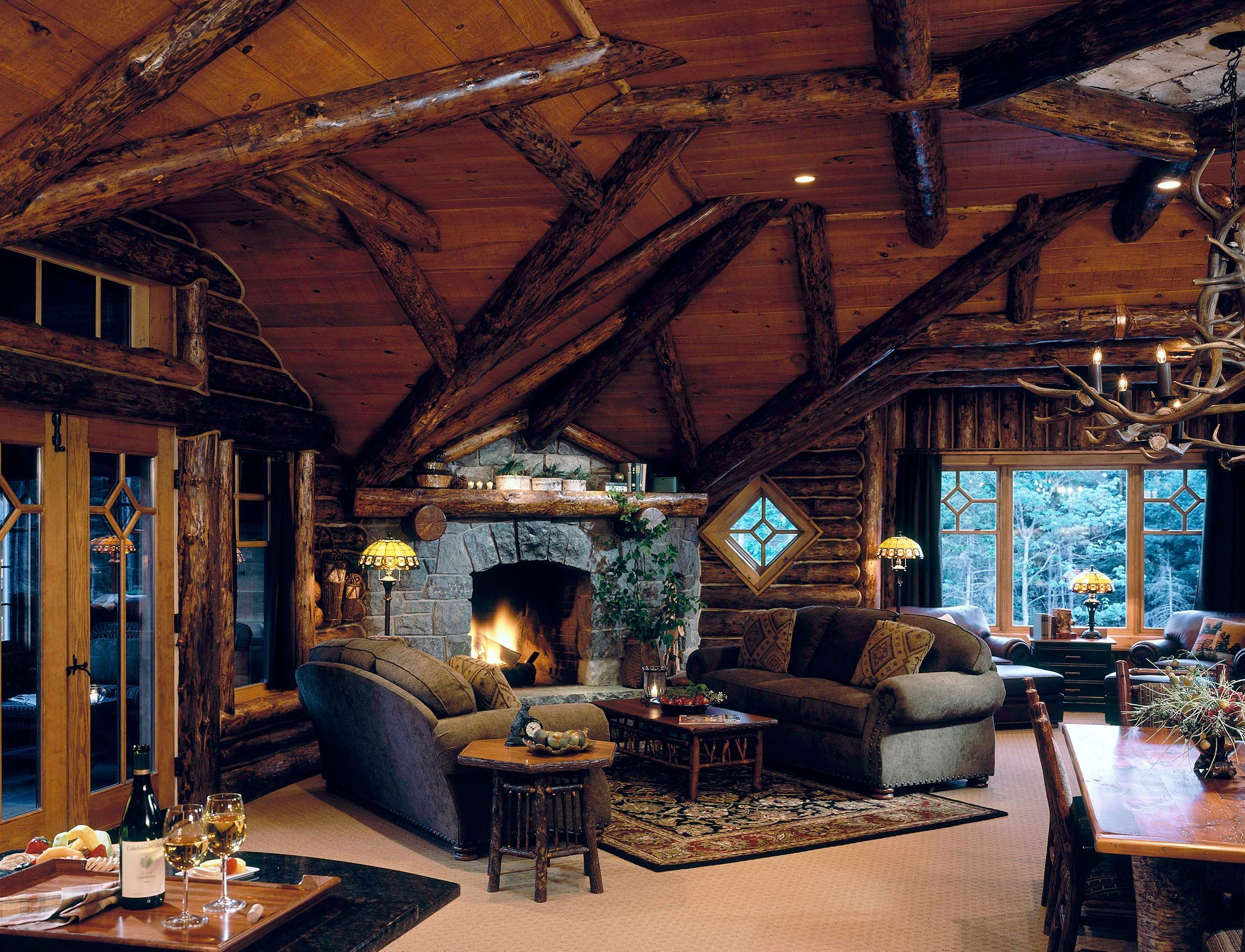Hotels indoor ceiling room Living property building estate house living room log cabin home interior design cottage wood outdoor structure farmhouse furniture area