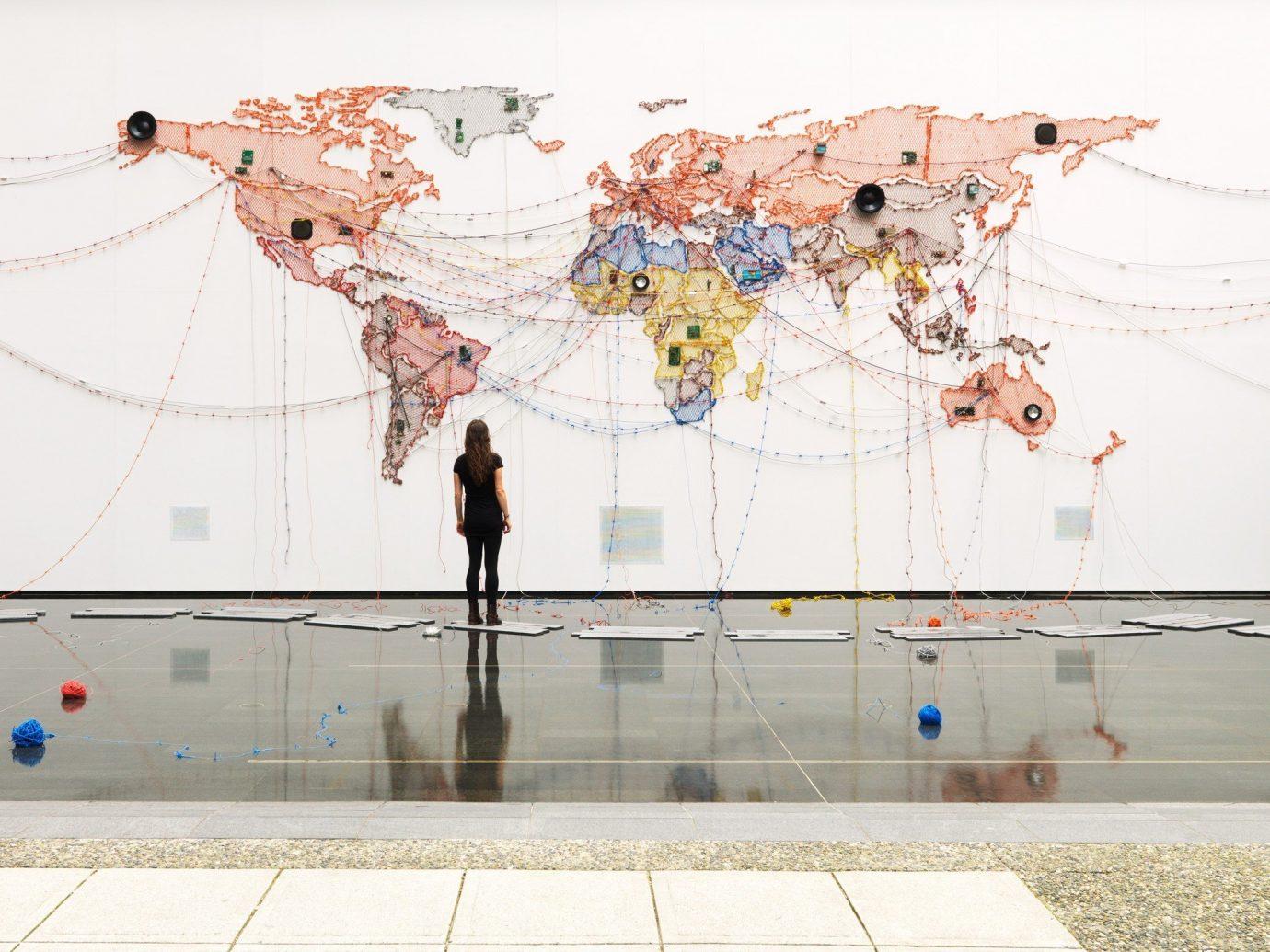 Arts + Culture map color text mural wall art modern art tourist attraction