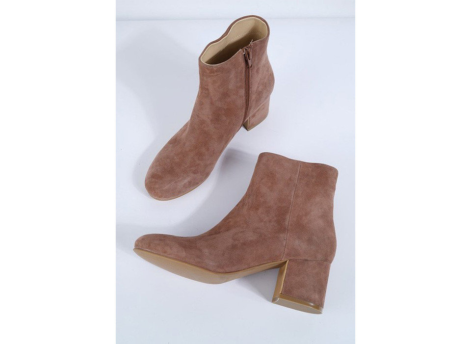 Style + Design footwear brown leather boot shoe product leg textile beige outdoor shoe human body suede material