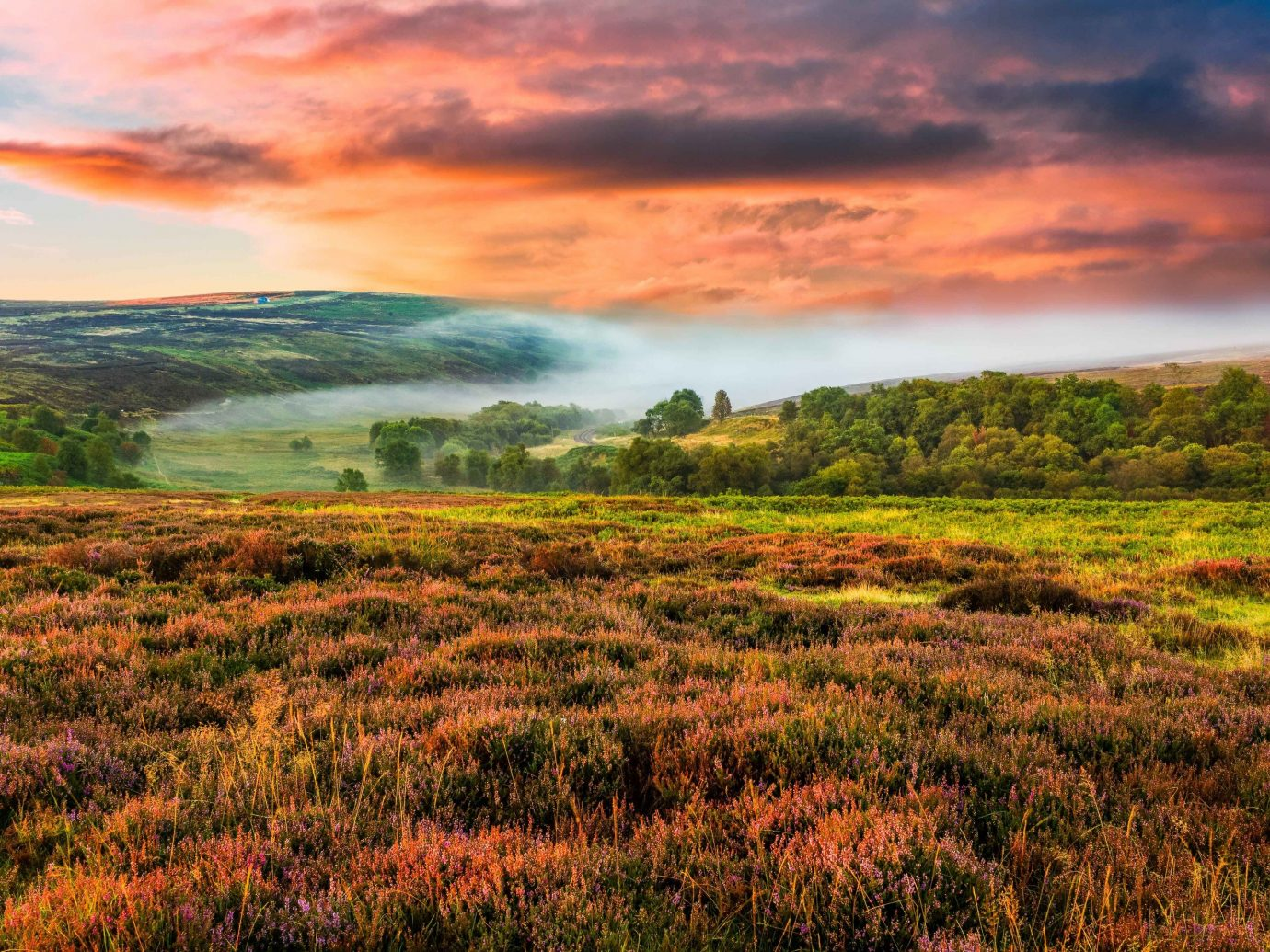Romance Trip Ideas Weekend Getaways grass sky outdoor field vegetation grassland ecosystem wilderness dawn nature reserve tundra prairie highland hill morning meadow shrubland Nature grassy plain sunlight rural area ecoregion savanna landscape national park evening mount scenery horizon green wetland afterglow fell pasture sunrise escarpment plant community bog computer wallpaper cloud steppe wildflower red sky at morning clouds lush distance hillside