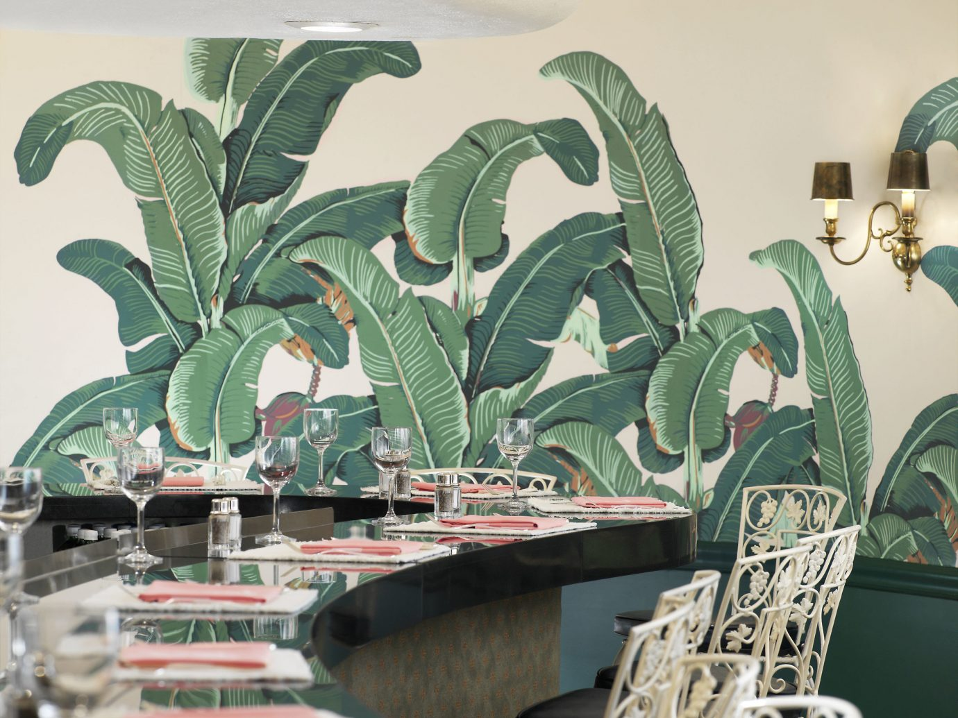 Hotels Style + Design Trip Ideas indoor green flora art flower leaf painting Design illustration dining table