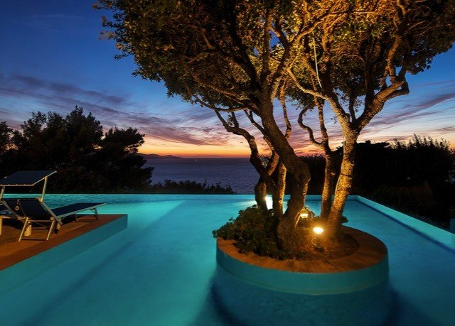 tree sky swimming pool arecales Ocean evening Sea Resort dusk