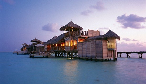 sky water scene pier home tourist attraction Resort evening Sea hut house Ocean