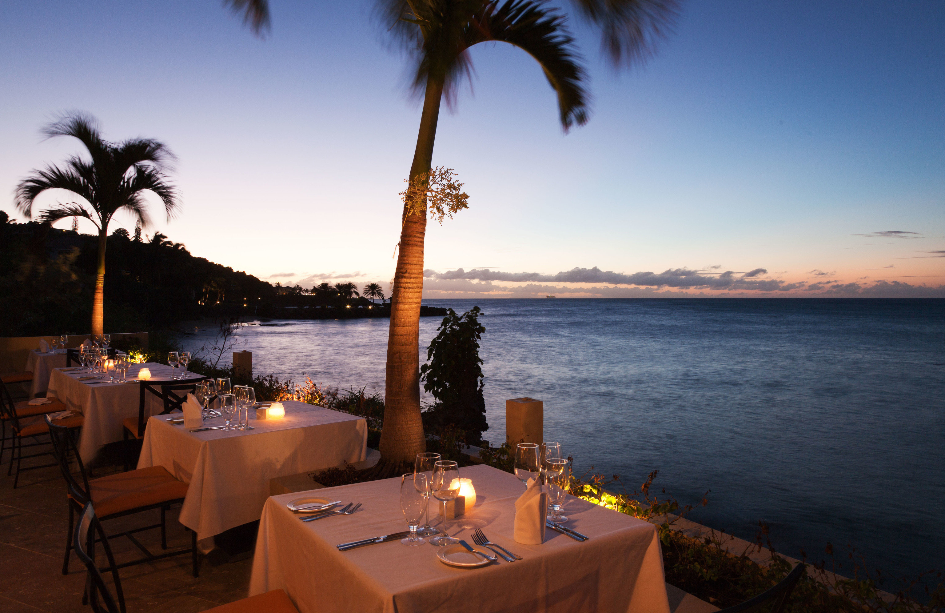 sky water Ocean evening arecales Sea tree Sunset restaurant Resort palm shore plant