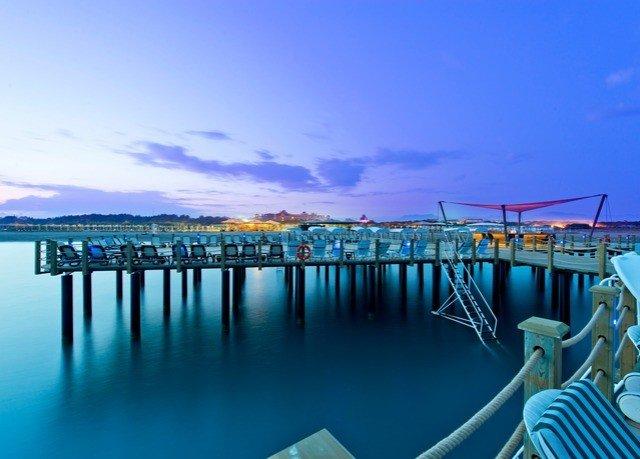 water sky scene pier chair Ocean horizon Sea marina dock dusk blue overlooking