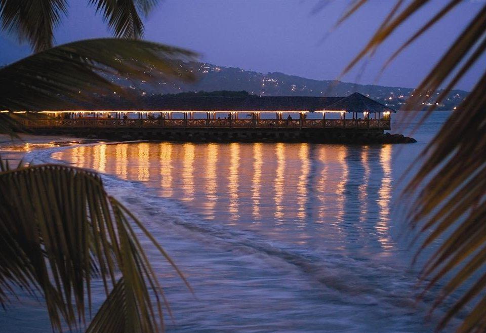 water bridge night evening scene morning dusk Sea Ocean Sunset sunlight dawn sunrise wave distance