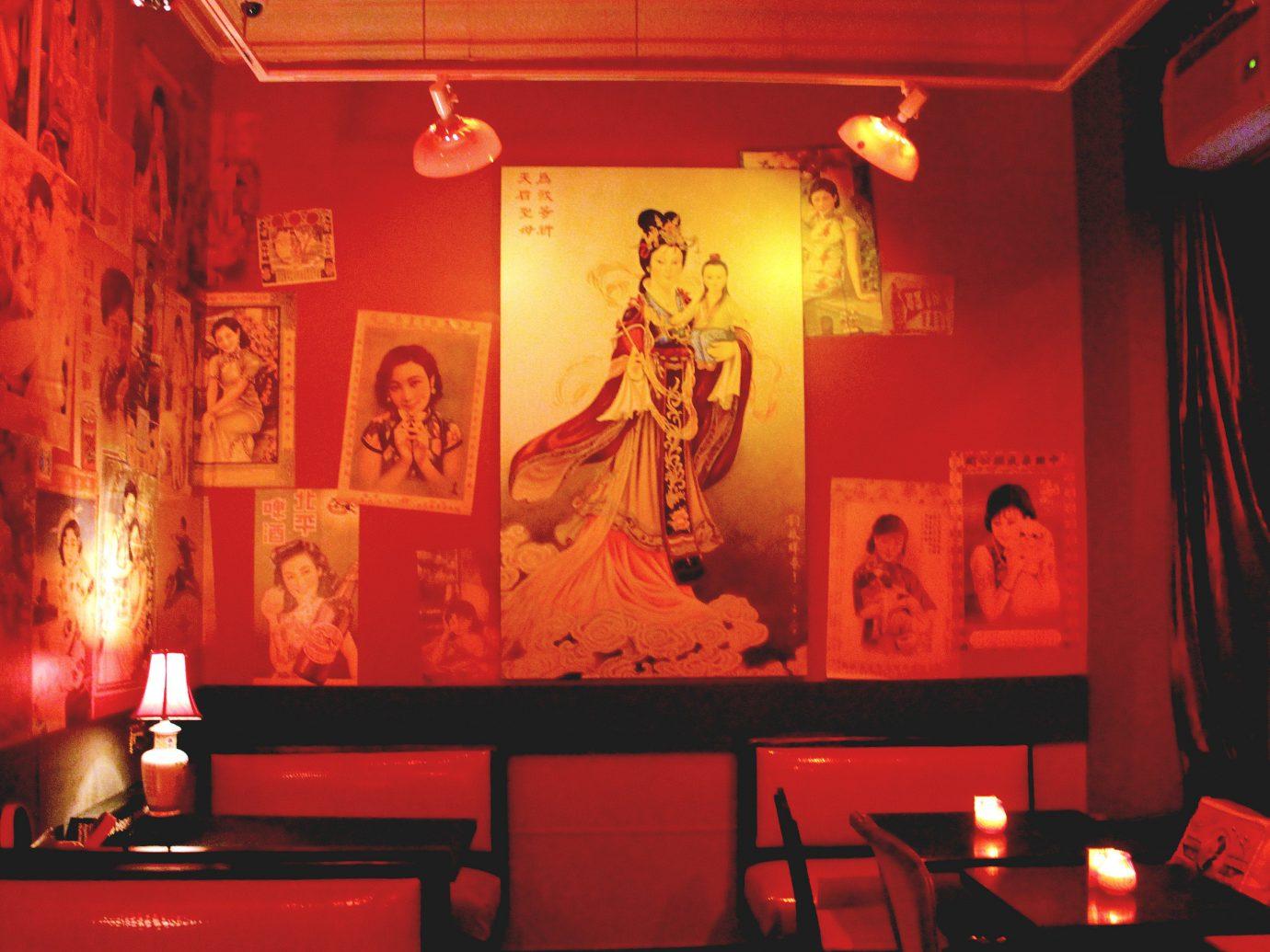 Trip Ideas red indoor stage interior design Bar restaurant painted
