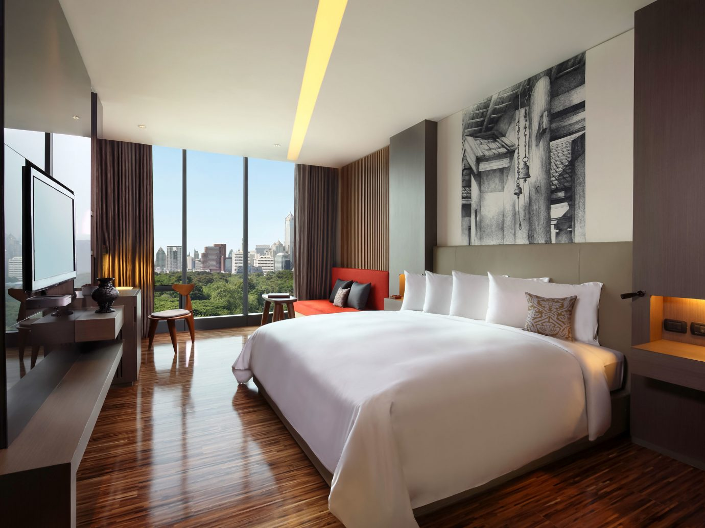 Architecture Bedroom City Design Hip Hotels Luxury Scenic views floor indoor room wall bed hotel property ceiling window Suite condominium real estate estate interior design nice apartment Villa furniture wood