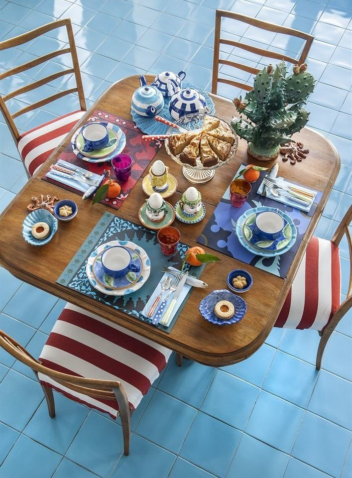 blue art Party dining table set