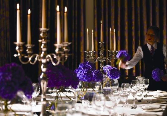 candelabrum wine glasses candle centrepiece function hall ceremony banquet wedding reception wedding lighting Party ballroom dinner set