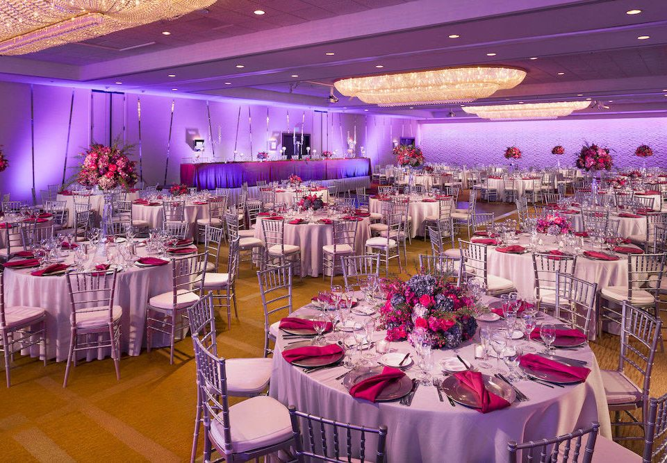 function hall banquet wedding reception quinceañera Party wedding scene centrepiece ceremony ballroom purple