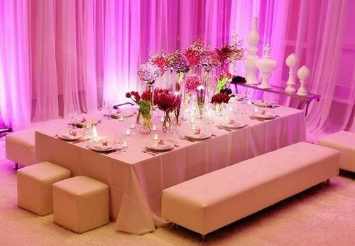 curtain pink function hall centrepiece banquet quinceañera Party wedding reception ballroom