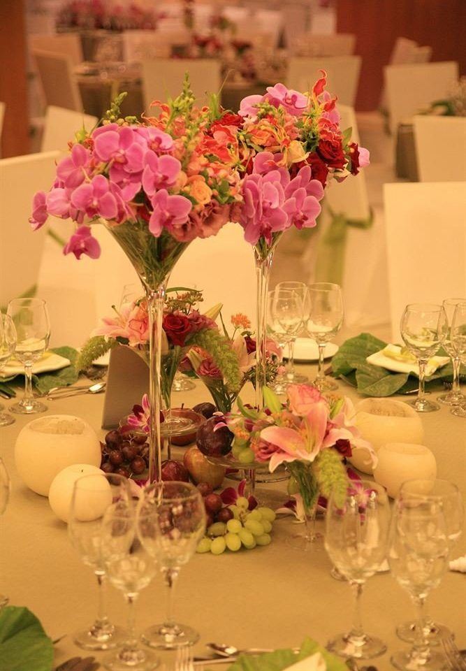 flower arranging plant centrepiece wine flower pink floristry glasses bouquet floral design flower bouquet petal ceremony wedding reception Party banquet set dinner