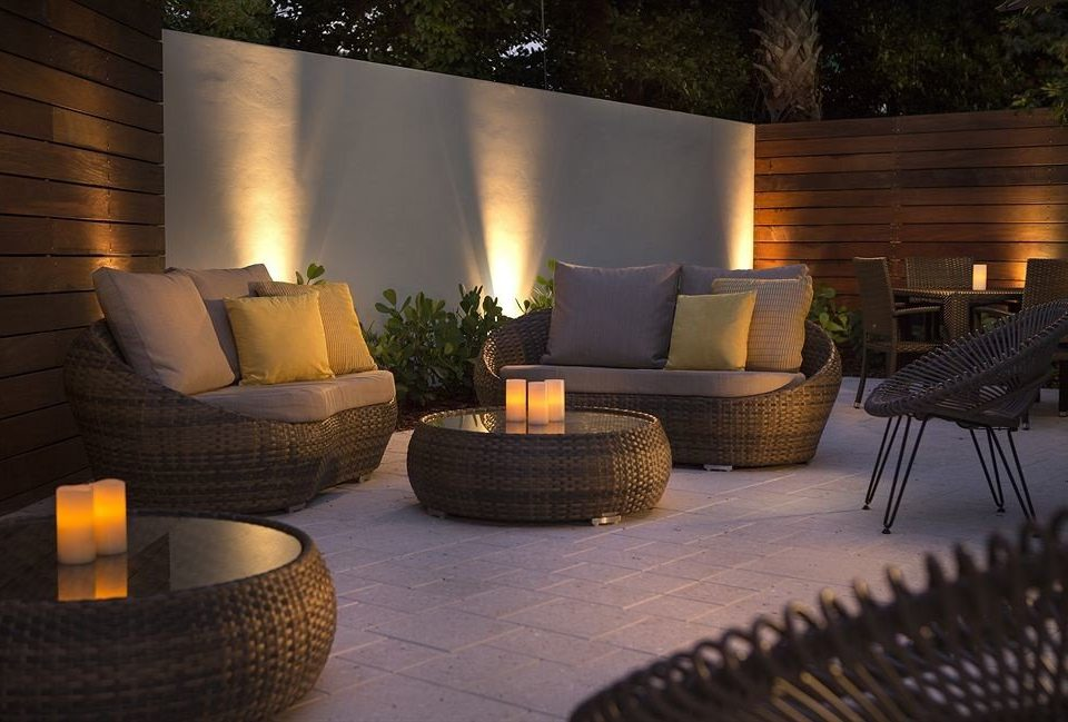 living room backyard lighting outdoor structure hearth Patio