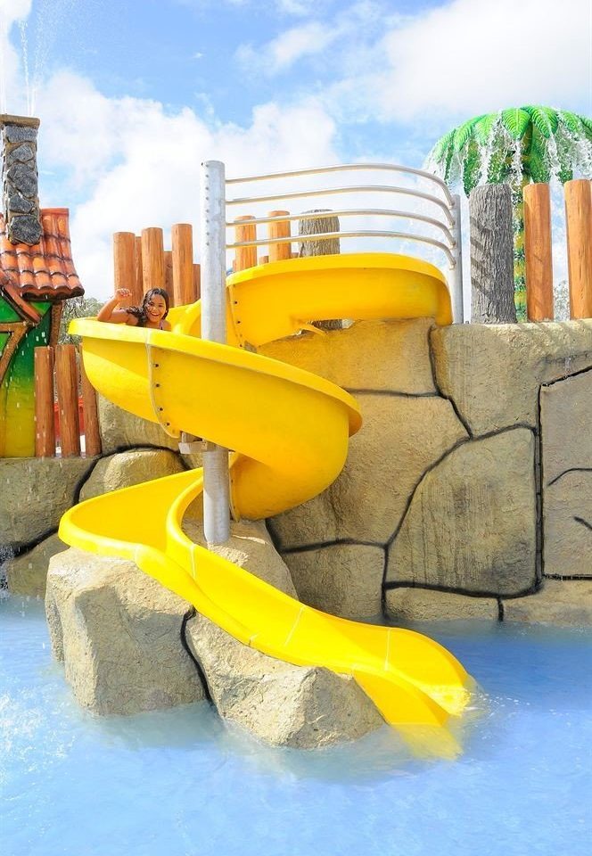 Water park leisure Playground amusement park outdoor play equipment yellow playground slide Play outdoor recreation park swimming pool recreation inflatable plastic