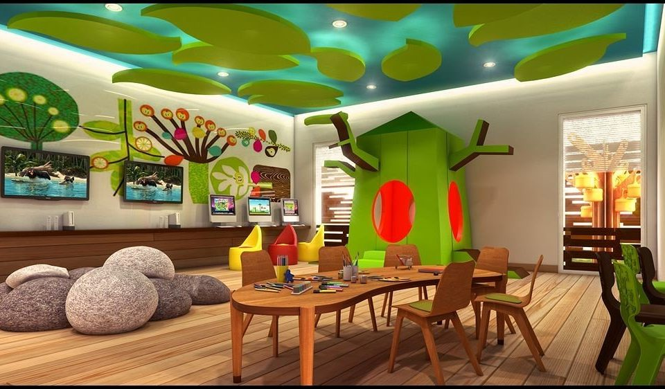 Resort Play recreation room living room mural colored