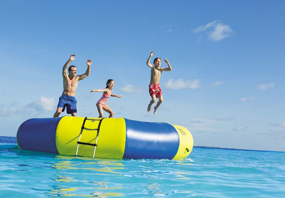 sky water leisure Water park Play Sea inflatable water sport extreme sport amusement park blue swimming
