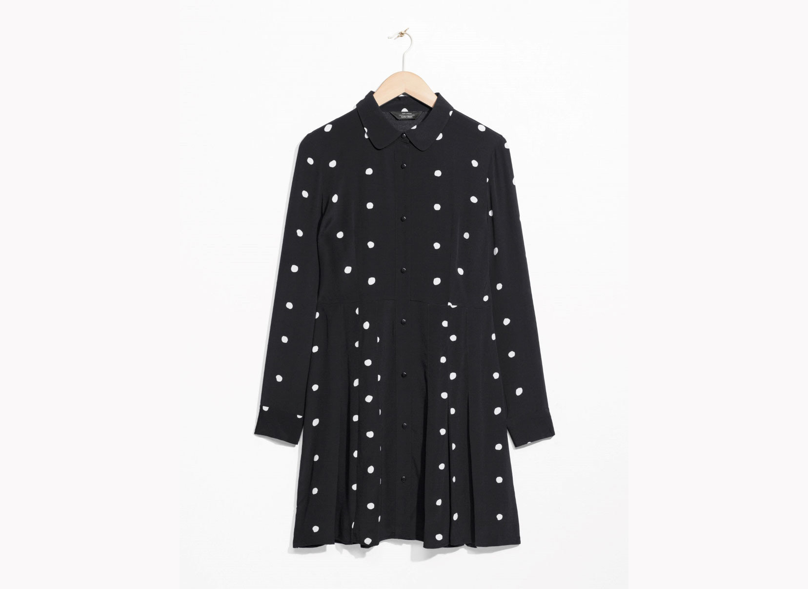 Style + Design Travel Shop clothing dress polka dot Design outerwear sleeve pattern coat collar overcoat day dress neck button clothes hanger