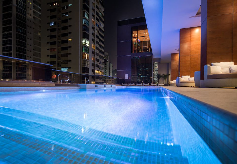 swimming pool building leisure light Pool night leisure centre blue Resort