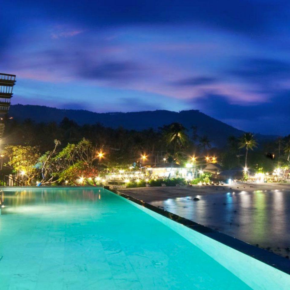 water sky swimming pool Resort Pool resort town night empty