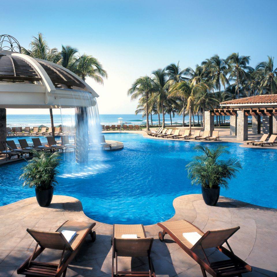 Pool Tropical sky water building leisure chair swimming pool Resort blue resort town swimming palace Villa lined