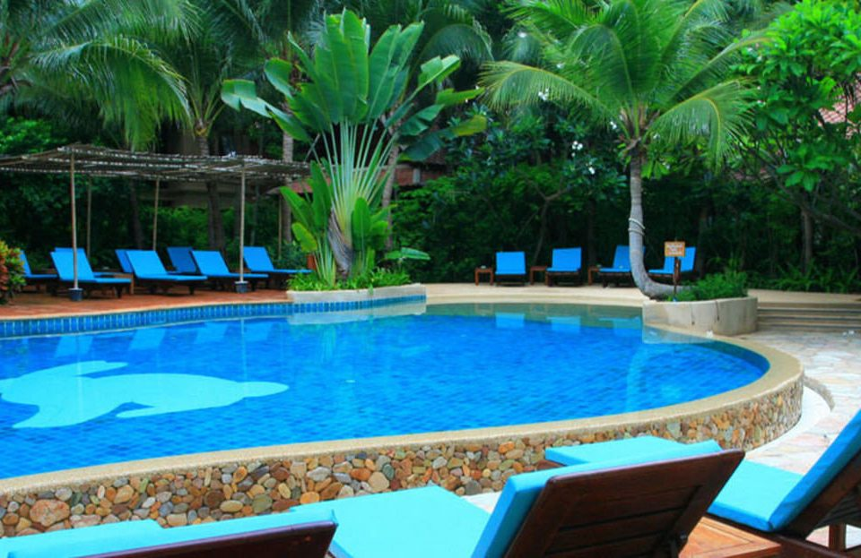 tree Pool swimming pool property Resort leisure blue backyard Villa plant swimming colored