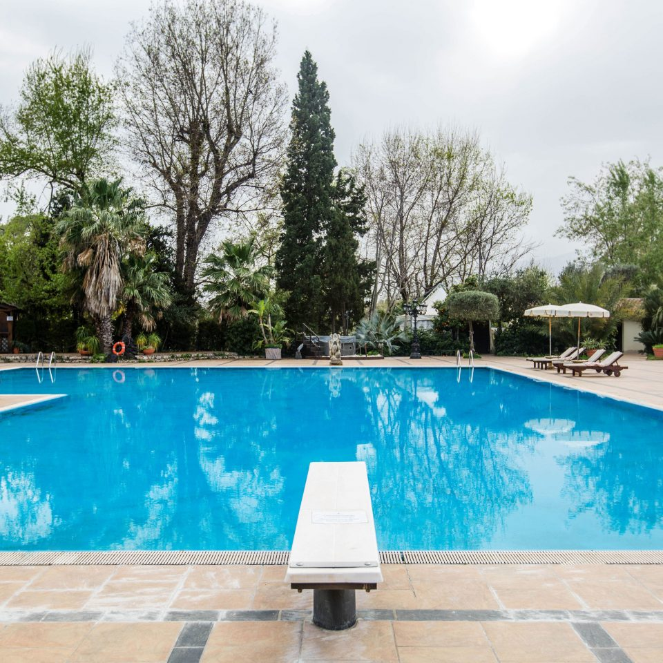tree ground swimming pool property leisure Pool backyard ramp Villa blue reflecting pool Resort home concrete cement