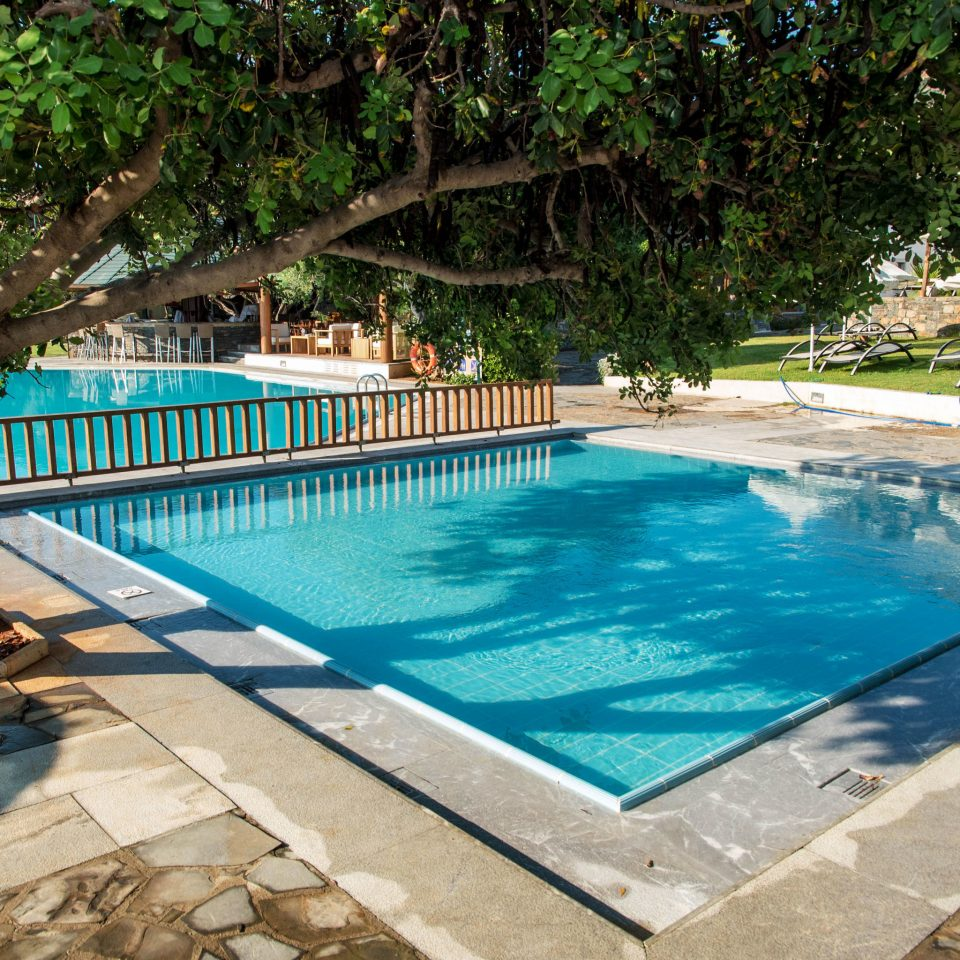 tree ground swimming pool property Resort sidewalk backyard Villa Pool mansion blue