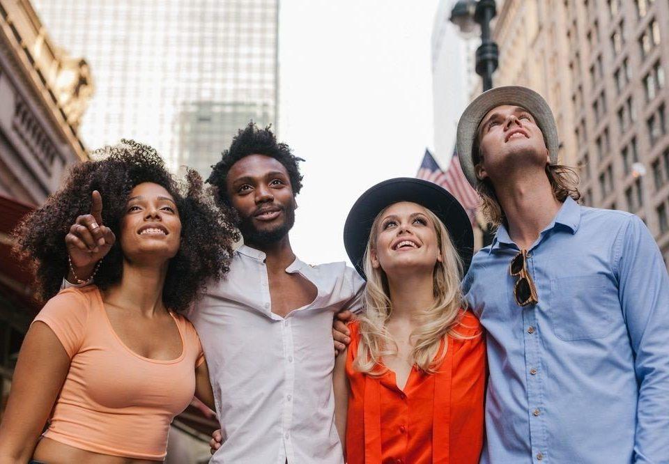 social group posing youth