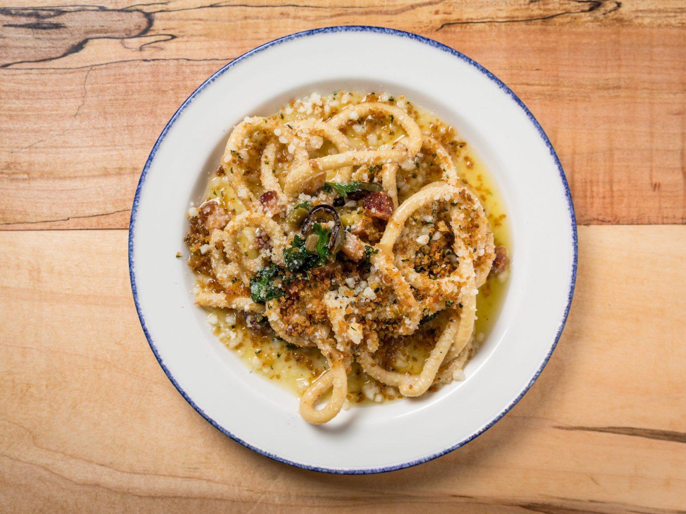 Food + Drink table food plate dish cuisine spaghetti wooden noodle carbonara produce italian food vegetarian food asian food udon pasta meal vegetable
