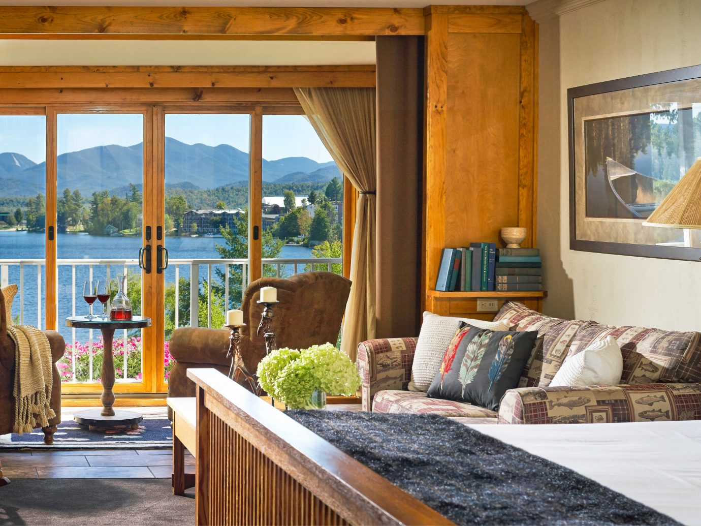Bedroom Classic Country Inn Luxury Suite indoor room property window house bed home estate cottage living room real estate interior design farmhouse wood porch log cabin Villa furniture