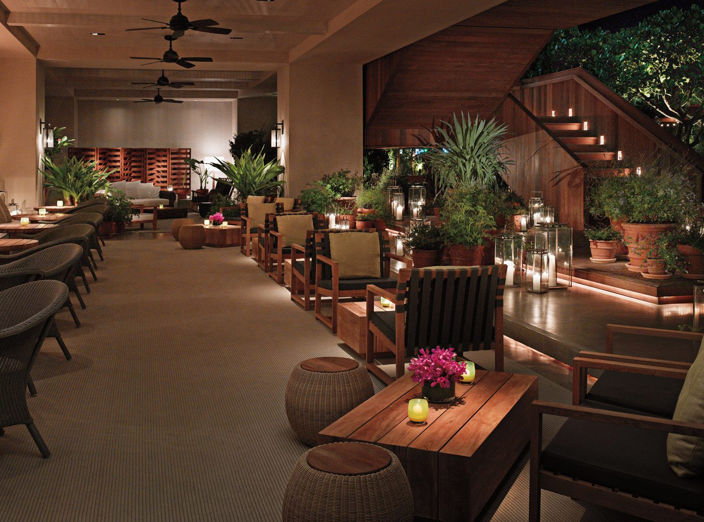 Bar Boutique Hotels Drink Eat Hawaii Honolulu Hotels Island Lounge Modern Outdoors Pool Sunset floor indoor room Living chair Lobby ceiling furniture estate restaurant decorated meal interior design home function hall Resort living room area several