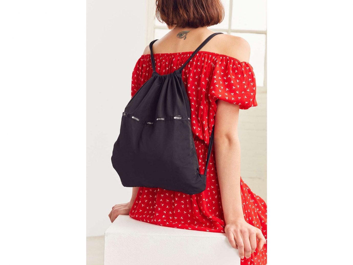 Style + Design red clothing indoor person shoulder polka dot bag Design joint pattern handbag product swimsuit top neck blouse sleeve tartan dressed