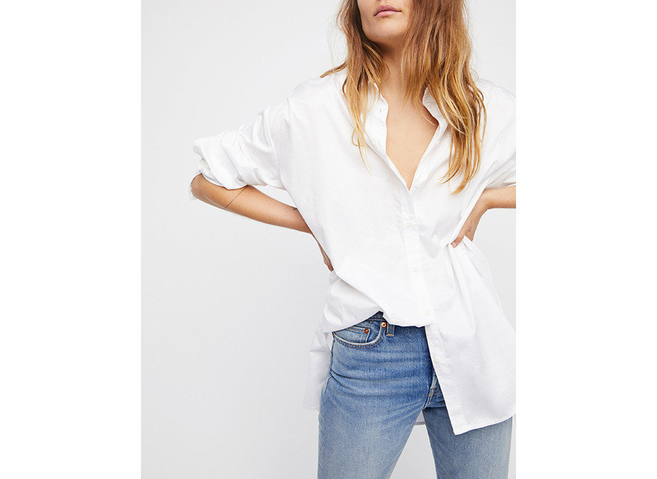 Style + Design person clothing white sleeve shoulder neck standing posing joint blouse fashion model button shirt top collar trouser
