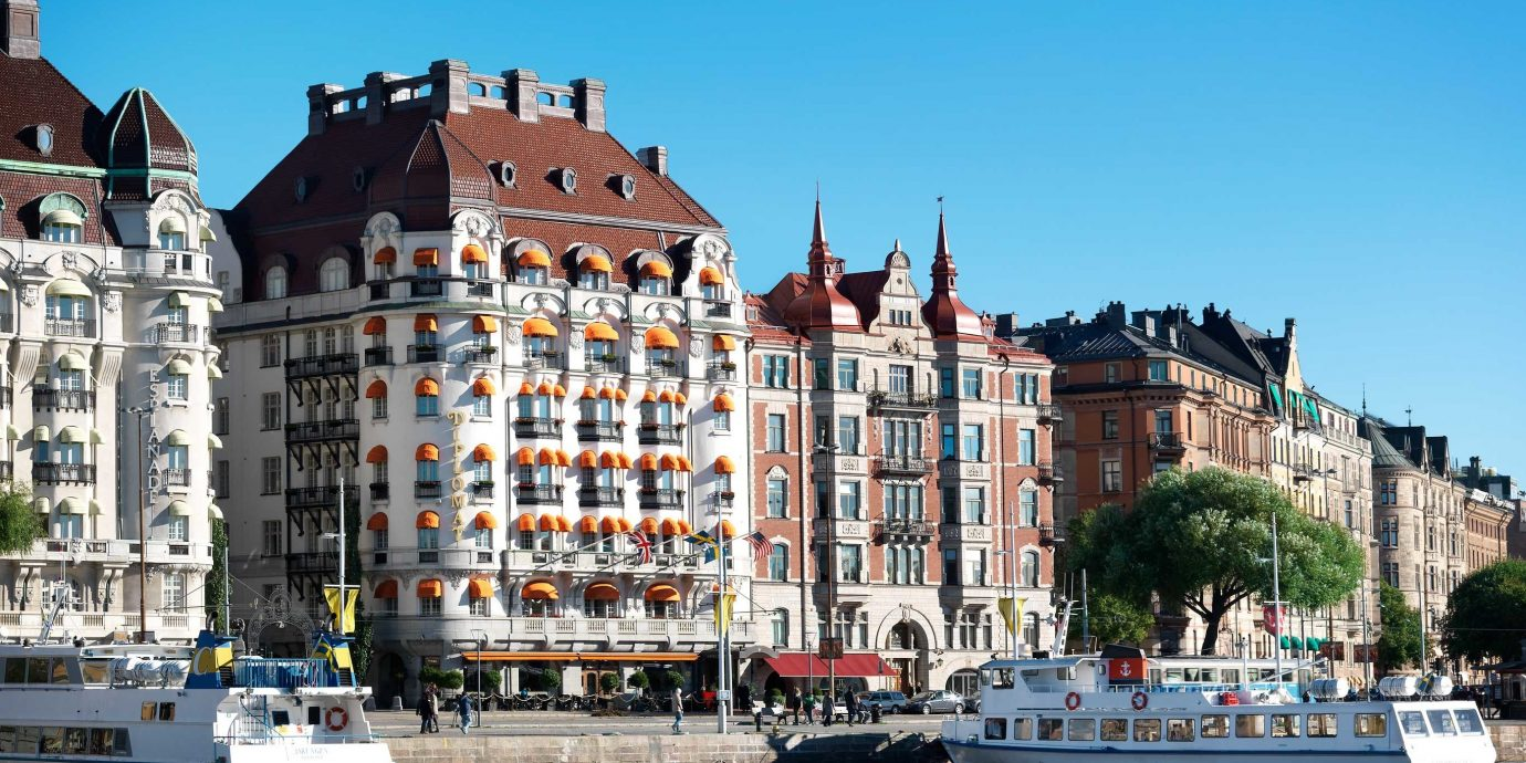 Elegant Exterior Hip Hotels Modern Stockholm Sweden water outdoor sky Boat building landmark Town Harbor City scene waterway cityscape vehicle Canal tourism vacation River day