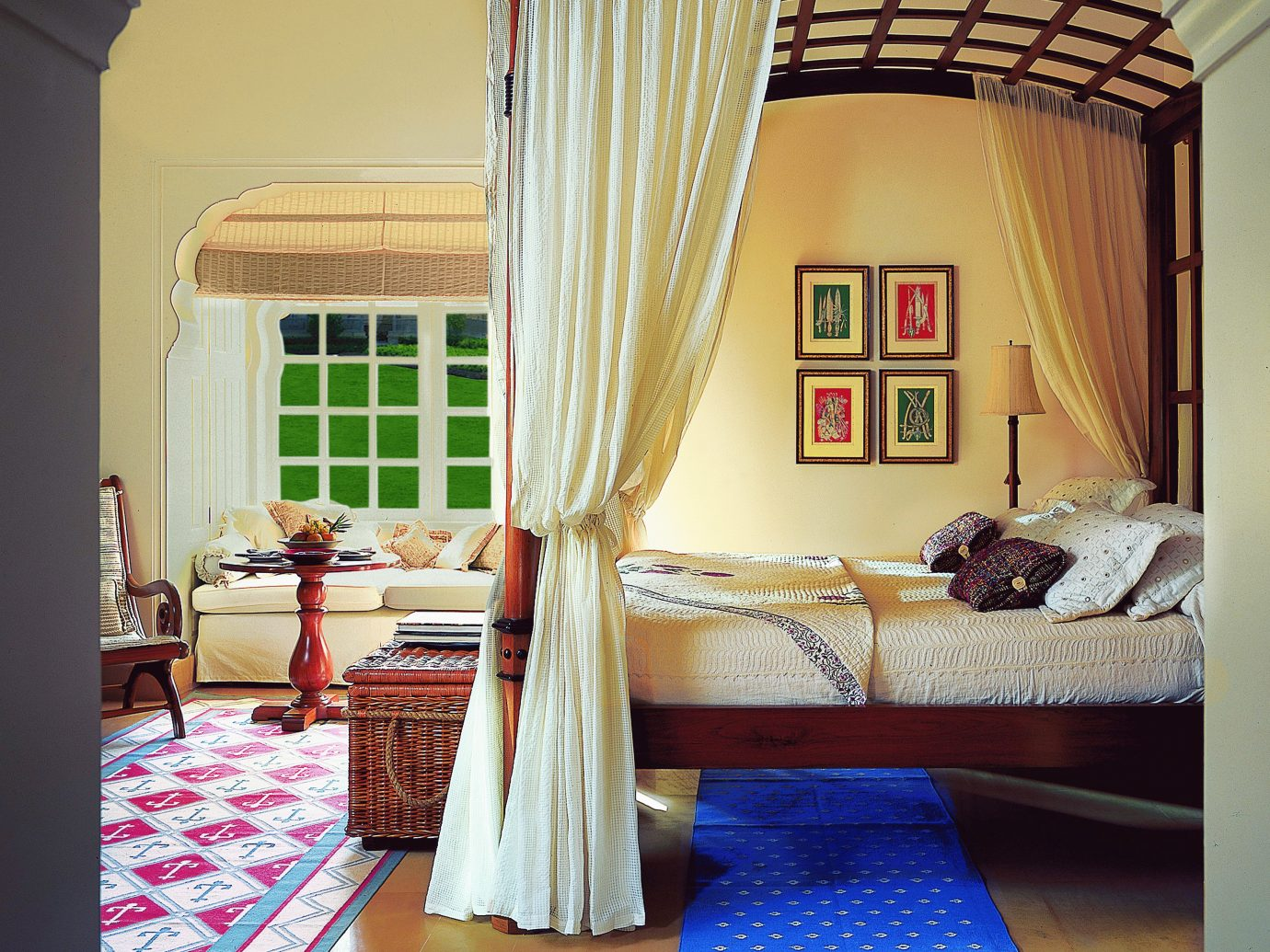 Bedroom Hotels Luxury Travel Suite indoor wall room Living property house living room home interior design cottage floor curtain estate window covering bed window treatment window apartment farmhouse Villa furniture decorated colorful