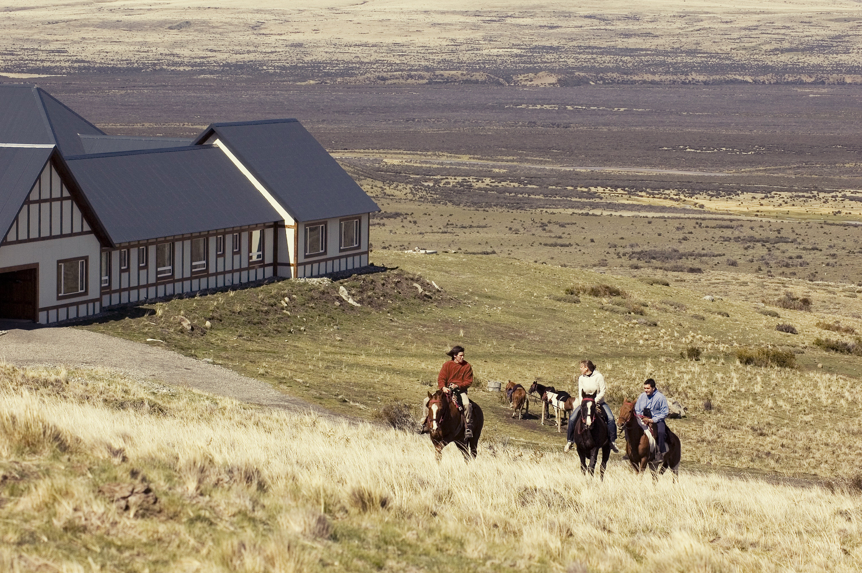 Hotels Outdoors + Adventure grass outdoor field horse prairie rural area Farm landscape agriculture Ranch open horse like mammal farm building barn plain highland