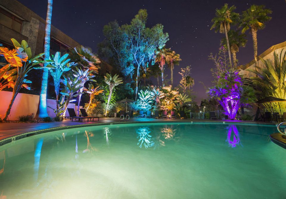 swimming pool colorful night Resort bright light landscape lighting amusement park colored