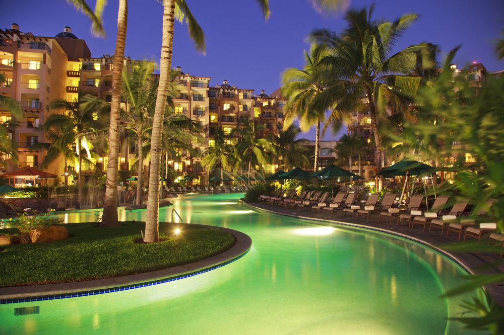 tree Resort swimming pool light night arecales resort town condominium palm