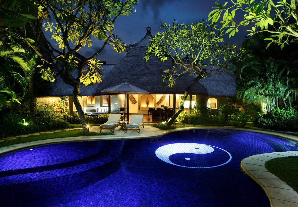 tree swimming pool landscape lighting backyard Resort lighting mansion plant