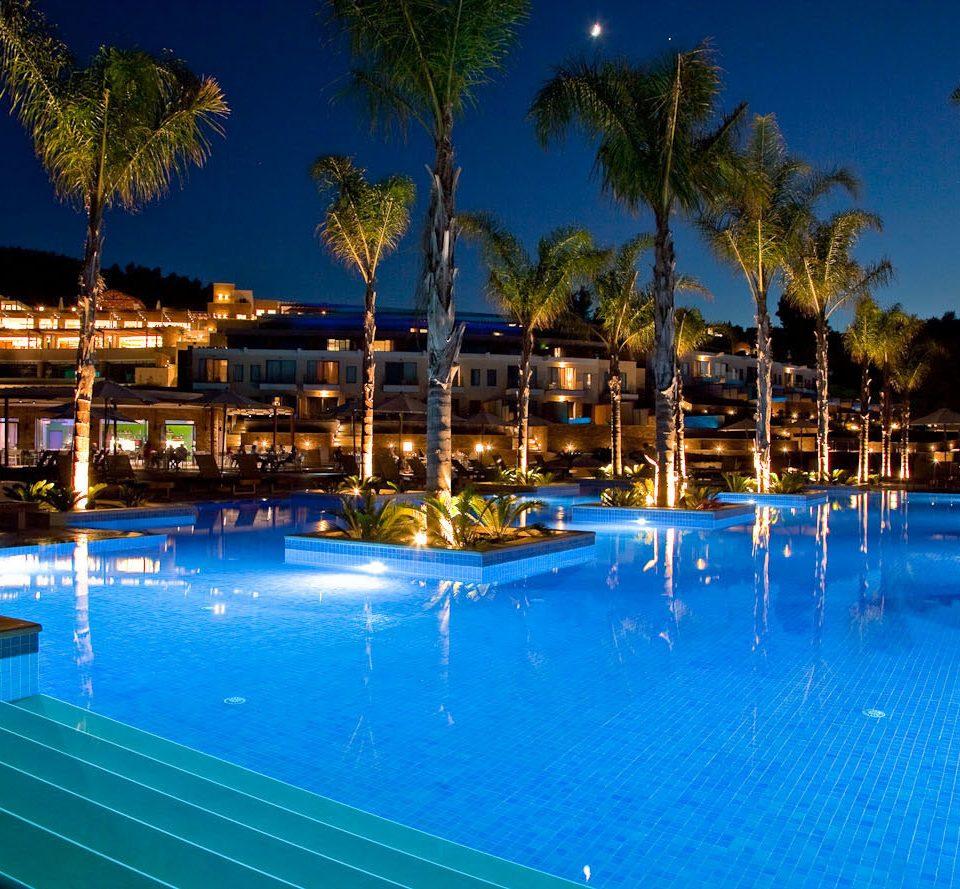 tree sky water swimming pool Resort leisure blue marina light resort town condominium dock night lined