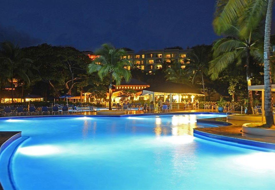 tree water swimming pool Resort leisure light resort town blue night empty