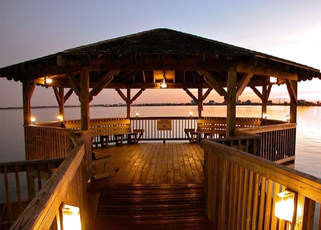 sky wooden pier building bridge Resort restaurant overlooking colonnade