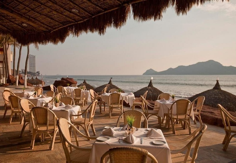 water chair Resort restaurant set shore dining table